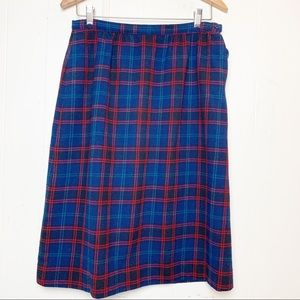 Vintage Pendleton Wool Plaid Midi Skirt w pockets